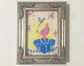Alice in Wonderland: Original Mini Gouache Painting