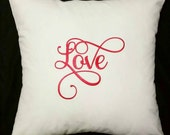 Embroidered Love Pillow, Modern Calligraphy, Valentine's Day Pillow, Cream Pillow