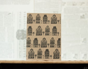 House Pattern Card: Brown Kraft Paper