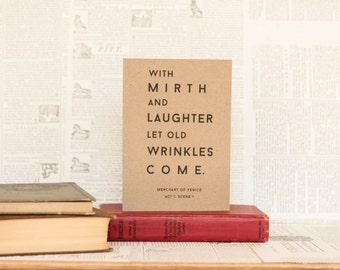 Shakespeare Birthday Card: Brown Kraft Paper