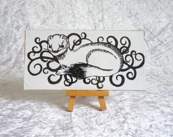 "Linocut ""Ermine"" to frame, ermine, black and white"