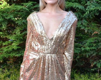 Custom made prom dress 'Helena' gown vintage-inspired full sequin dress with plunging neckline and long sleeves formal black-tie events