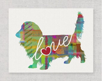 Long Haired Dachshund Love - A Colorful, Bright & Whimsical Watercolor Print Home Decor Gift - Can Be Personalized with Name (+ More Breeds)