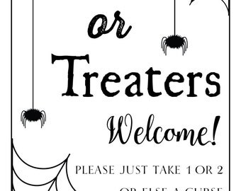 Halloween 'Trick or Treat' Window/Door Sign - PRINTABLE FILE