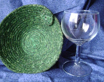 Small Green coiled Bowl with Swirl  #145