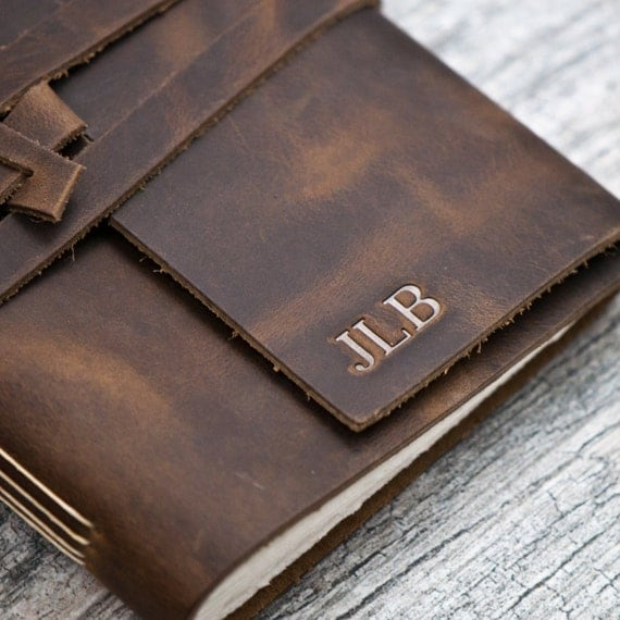Brown leather personalized notebook