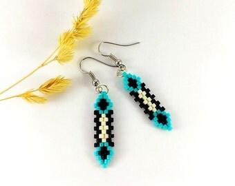 Tiny earrings Minimalist earrings Beaded jewelry Blue and black earrings Fashion earrings Teen earrings Best gift for friend Trendy earrings