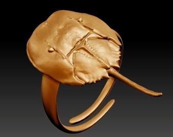 Horseshoe Crab Ring-  Adjustable Horseshoe Crab Ring - Horseshoe Crab Jewelry