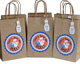 Bowling party favors, bowling party bags