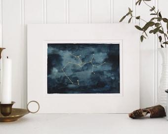 Sagittarius Original Watercolor Constellation Painting. gift idea, hand painted, birthday, nursery art, children's art, stillborn gift
