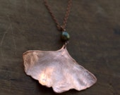 Ginkgo with pearl leaf pendant, real leaf electroformed with copper, metal leaf, copper dipped, autumn leaf, electroforming, long pendant