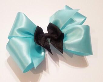 Aqua Hair Bow - Girls Hair Bow - Toddler Hairbow - Satin Ribbon HairBow - Boutique Hair Bow - Hair Accessory - Hair Clip