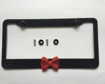 Free shipping Fashion Bling crystal license plate frame holder With Red Bow Bonus 2 Matching Screws & Caps