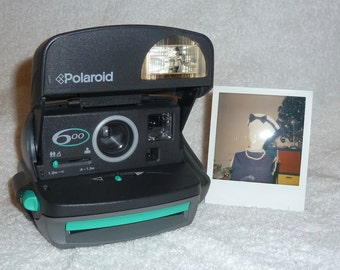 Factory Turquoise Green Polaroid 600 Express With Close Up Lens - Works Great