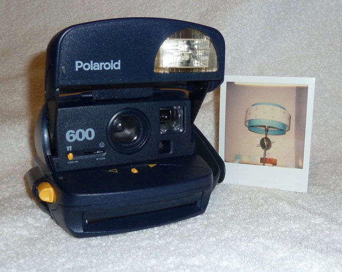 Blue Polaroid Express Camera With Close Up and Flash Built In