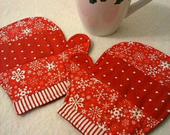 Mitten Mug Rugs - Christmas Mug Rugs - Christmas Coasters - Set of Two - Choose Color