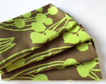 Cloth Dinner Napkins - Set of 4 - Avocado Green Brown Flowers Floral