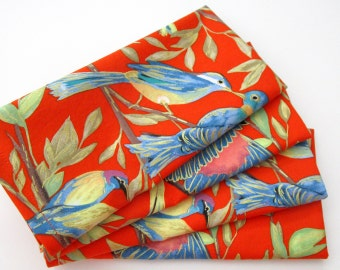 Large Cloth Napkins - Set of 4 - Red Blue Green Metallic Gold Birds