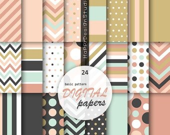 Digital paper chevron dots polka dot stripe plain wedding colors mustard gold blush pink mint black scrap invitation papers instant download
