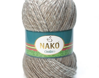 Wool & Acrylic High Quality Turkish Yarn Nako Ombre - Pack of 5 balls. Impressive winter yarn for Scarf, pullover and more. Free Shipping