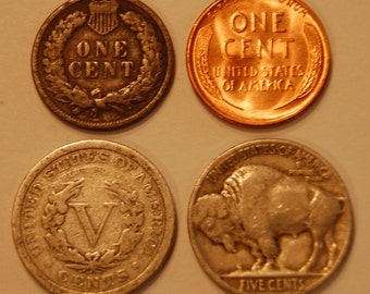 FREE SHIPPING! - Old US Coins - Indian Head Cent - Unc Wheat Penny - Liberty V Nickel - Buffalo Nickel - Rare Old Coins