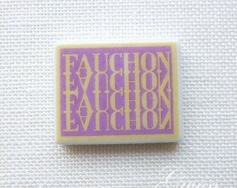 Tiny Fauchon tile charm porcelain french miniature Signed French feve epiphany king cake doll cake topper figure