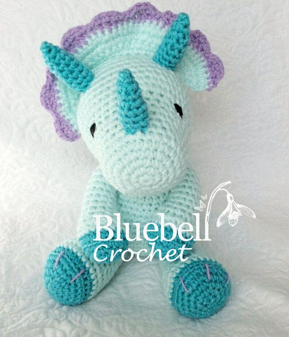 Free Crochet Pattern For Dinosaur Beanie : Crochet dinosaur triceratops pattern. by BluebellCrochet ...