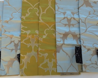 fat quarter fq set of 9 fabric samples upholstery damask fabric beacon hill blossom frame chartreuse sky silk cotton 17 x 17 fre