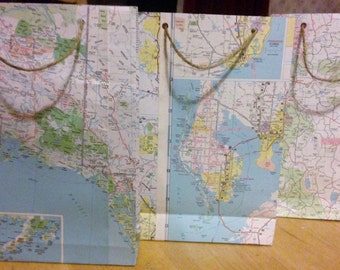 Map Paper Gift Bag - Medium - Bon Voyage - Presentation Bag, Atlas, Wedding Favour, Favors, World