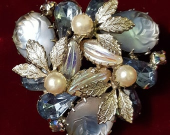 Stunning, 50's, Julianna D&E, brooch with faux pearls, blue rhinestones, and molded, givre glass roses!