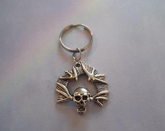 Tibetan Silver Winged Skull Key chain,Key Holder