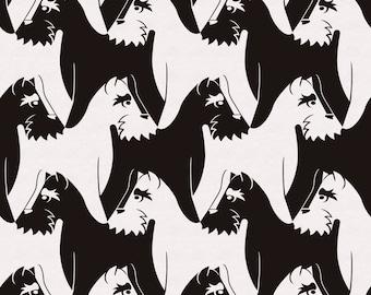 Houndstooth Dog Wallpaper - black & white