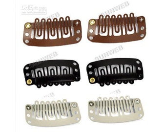Wig clips, hair extensions clips, snap clips, silicone grip, blonde/black/brown 32mm 20 or 50