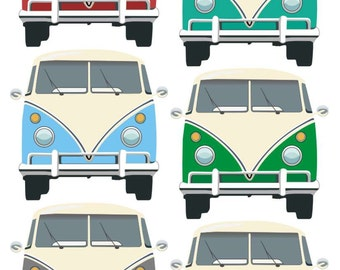 CAMPERVAN Fabric Wall Stickers, front view. Repositionable. reusable surfing seaside wall decals