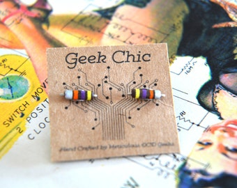 Geek Chic: 34k Resistor earrings!  Silver, Orange, Purple, Gold and brown, Mountain on titanium studs. Perfect Gift For Valentine's Day!
