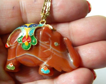 carved agate pendant with chain