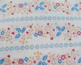 Vintage Feather Pillow with Flowered Ticking, Pillow Ticking, Craft Ticking, Art Ticking, Farm House Pillow, Cottage Decor, Bed Pillow