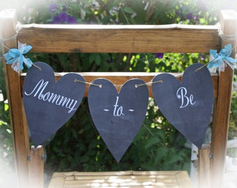 Baby shower Mommy to Be banner chair sign | Mommy to be chair sign | Baby shower Chair decoration for Mommy | Chalkboard baby shower