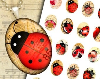 Ladybugs retro letters for jewelry making - 30x40, 22x30, 18x25, 13x18mm ovals Digital Collage Sheet x Pendants, Cabochons, Cameos
