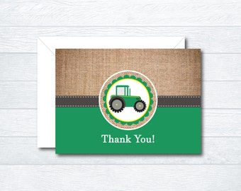 Tractor Thank You Cards - Thank You Cards - Folded Thank You Cards - Printable File