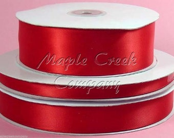 5/8 inch x 100 yards of Red Double Face Satin Ribbon