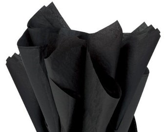 BLACK Tissue Paper 24 Sheets Premium Tissue Paper for Craft Projects, Gift Wrapping, and DIY