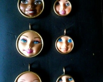 Barbie jewelry, barbie doll, doll face, barbie pendant, barbie necklace, barbie doll