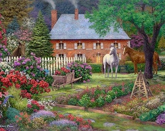 Cottage Painting, Horses Art, Garden Artwork, Painting of Country Garden, Bluejay Art, Horse Painting, English Countryside Home-3726