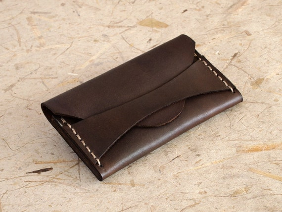 Leather Business Card Case, Credit Card Case, Minimalist Wallet, Dark Brown - Ready to Ship