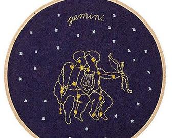 Gemelli (21 maggio - 20 giugno) ricamo dello zodiaco