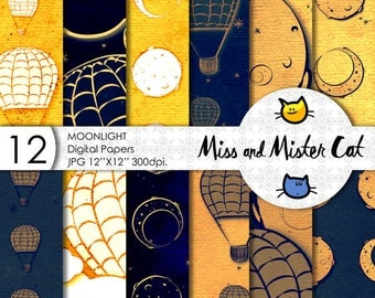 "Moonlight Digital papers, Scrapbook papers, commercial use. 12 pages model ""Moonlight"" Whith full moon and a hot air balloon."