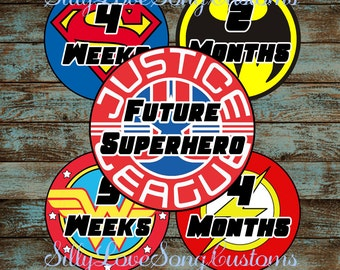 Justice League Individual Superhero Inspired Printable Monthly Baby Stickers or Weekly Bump Stickers! DIGITAL FILES! 4inch Rounds