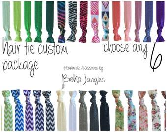 6 Custom Hair Ties, You Choose Mix, Pick 6 Stretchy Hair Ties, Ponytail, Stretch Bracelets, Hair Elastics, Chevron, 6 Elastic Ties (HR-09)
