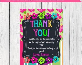Luau Thank You Card Personalized  ***Digital File*** (Aloha-Flwr Thx)